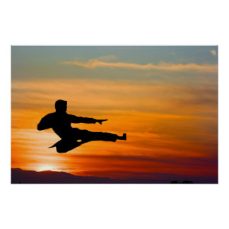 Karate kick at sunrise, poster