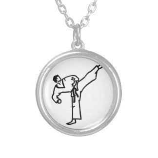 Karate Kick Silver Plated Necklace