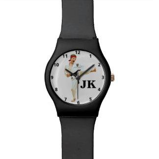 Karate Kicking Black Belt Customizable Wristwatch