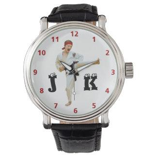 Karate Kicking Black Belt Customize Monogram Wristwatch