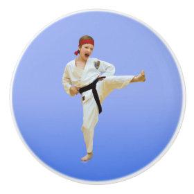 Karate Kicking, Black Belt, Martial Arts Ceramic Knob