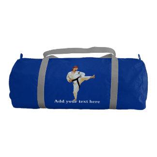 Karate Kicking, Black Belt,  Martial Arts, Text Gym Bag