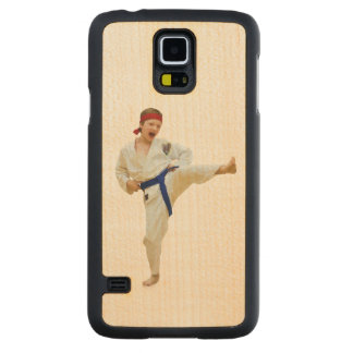 Karate Kicking, Blue Belt,  Martial Arts Carved® Maple Galaxy S5 Case