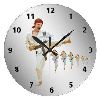 Karate Kicking Brown Belt Customizable Large Clock