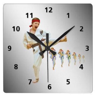 Karate Kicking Brown Belt Customizable Square Wall Clock