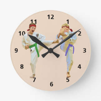 Karate Kicking, Customizable Round Clock