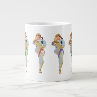 Karate Kicking, Customizable, Specialty Mugs 20 Oz Large Ceramic Coffee Mug