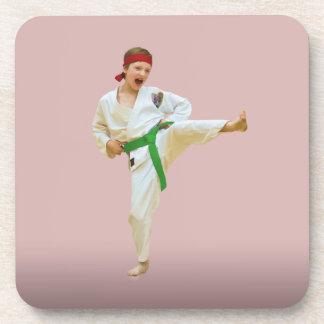 Karate Kicking, Green-Belt, Customizable, Coaster Drink Coaster