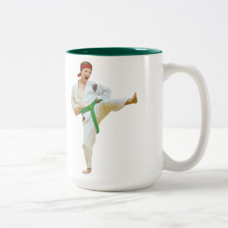 Karate Kicking, Green Belt, Customizable, Mug