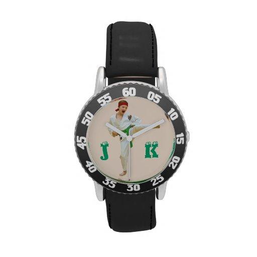 Karate Kicking Green Belt Customize Monogram Watches