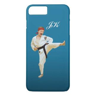 Karate Kicking, Martial Arts Customizable Monogram iPhone 8 Plus/7 Plus Case