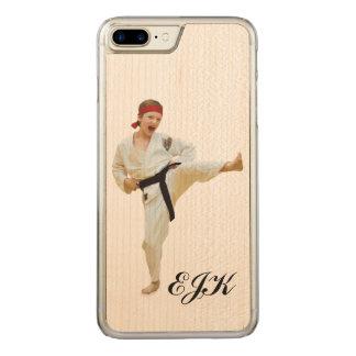 Karate Kicking, Martial Arts Monogram Carved iPhone 8 Plus/7 Plus Case