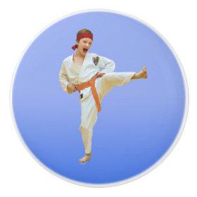 Karate Kicking, Orange Belt, Martial Arts Ceramic Knob