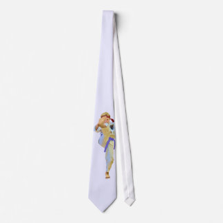 Karate Kicking Purple Belt Neck Tie