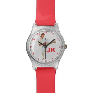 Karate Kicking Red Belt Customizable Watch