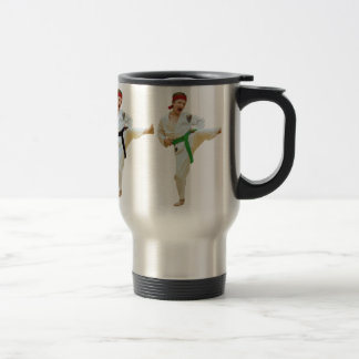 Karate Kicking Travel Mug, Customizable Travel Mug