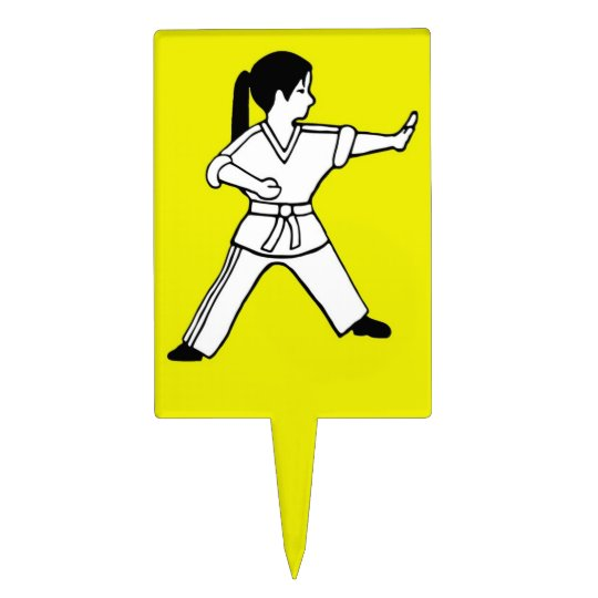 Karate Kid 6 yellow cake cupcake topper TKD