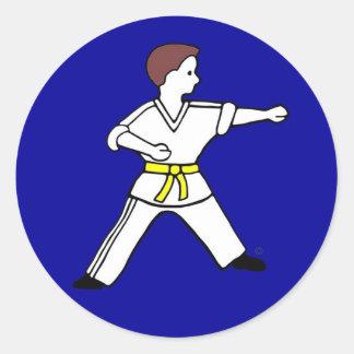 Karate Kid contemporáneo 11 pegatinas azules Pegatinas Redondas