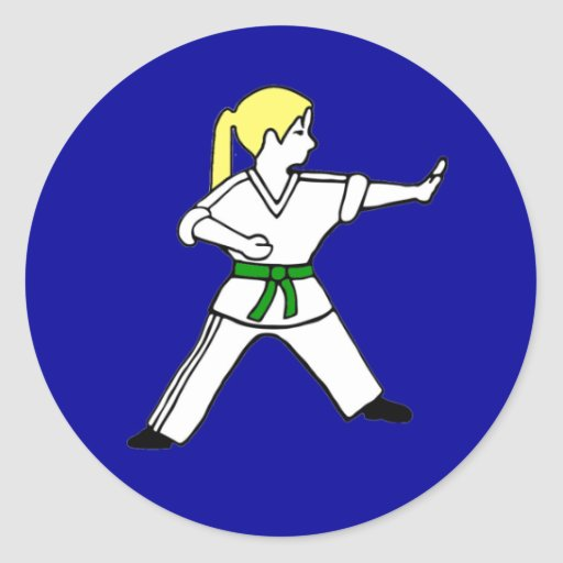 Karate Kid Girl #6 blond hair green belt Stickers