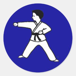 Karate Kid tradicional 3 en los pegatinas del azul