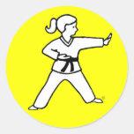 Karate Kid tradicional 4 en los pegatinas Etiqueta Redonda
