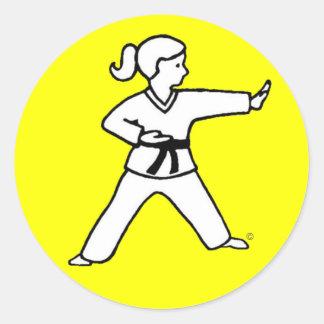Karate Kid tradicional 4 en los pegatinas amarillo