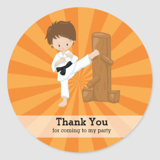 Karate kids classic round sticker