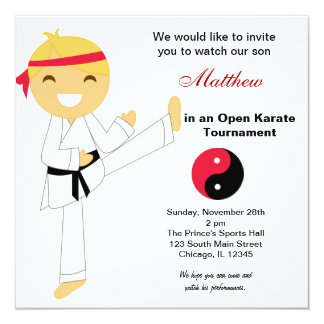 Karate tournament invitations announcements zazzle karate kids tournament card stopboris Gallery