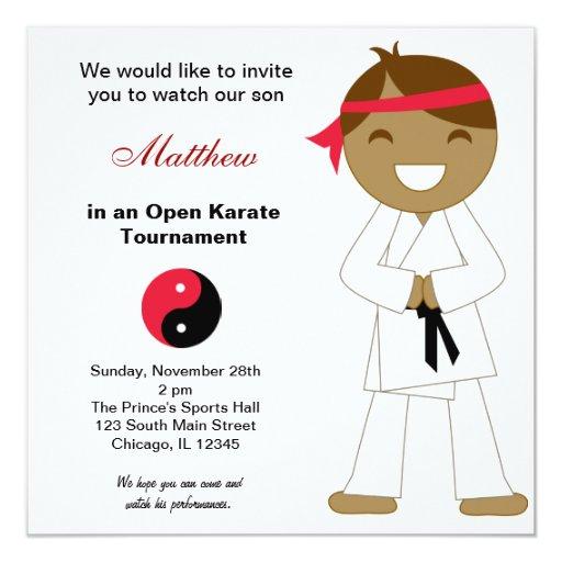 Karate Kids Tournaments 5.25x5.25 Square Paper Invitation Card