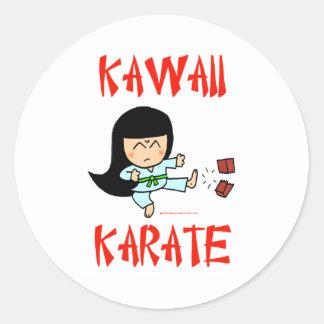 karate lindo del chibi de los artes marciales del pegatina redonda
