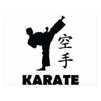 karate man chinese symbols icon postcard