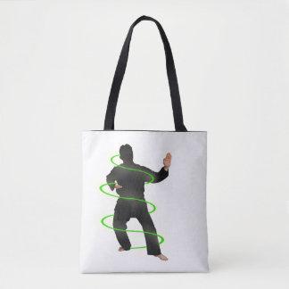 Karate man in neon glow, totebag tote bag