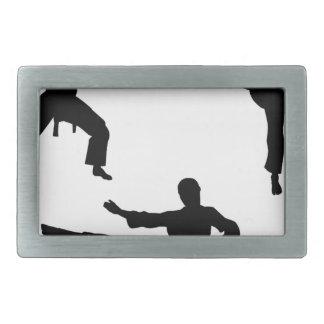 Karate Martial Art Silhouettes Rectangular Belt Buckle