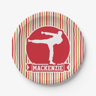 Karate, Martial Arts; Red, Green, Orange Stripes 7 Inch Paper Plate