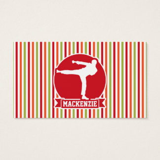 Karate, Martial Arts; Red, Green, Orange Stripes Business Card
