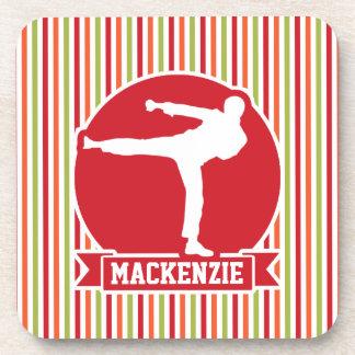 Karate, Martial Arts; Red, Green, Orange Stripes Beverage Coaster