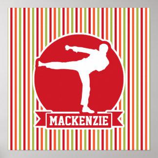 Karate, Martial Arts; Red, Green, Orange Stripes Poster