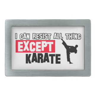 karate martial design rectangular belt buckle