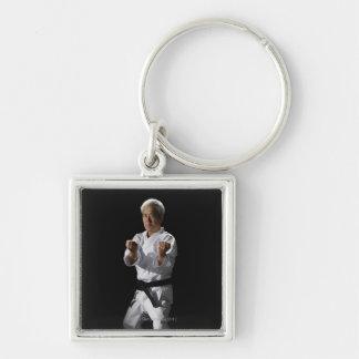 Karate master, portrait, studio shot 2 Silver-Colored square keychain