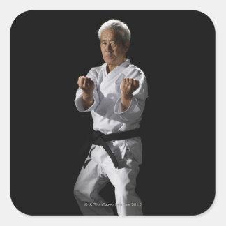 Karate master, portrait, studio shot 2 square sticker