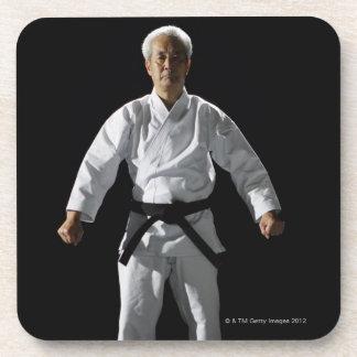 Karate master, portrait, studio shot coaster
