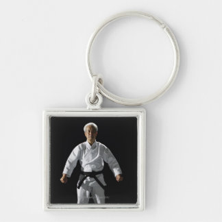 Karate master, portrait, studio shot Silver-Colored square keychain