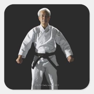 Karate master, portrait, studio shot square sticker