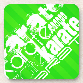 Karate; Neon Green Stripes Coaster