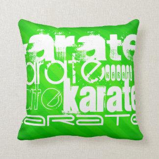 Karate; Neon Green Stripes Throw Pillow