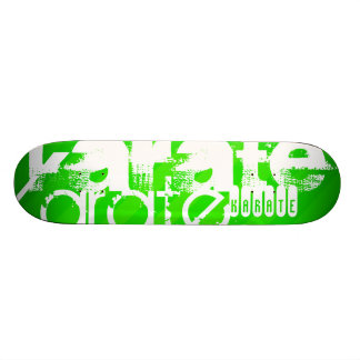Karate; Neon Green Stripes Skateboard