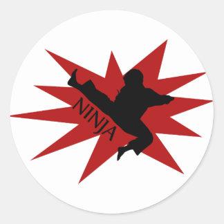 Karate Ninja Pegatinas Redondas