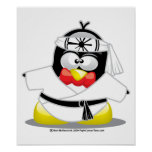 Karate Penguin Print
