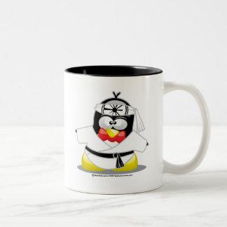 Karate Penguin Two-Tone Coffee Mug