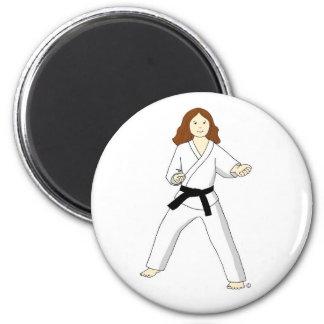 Karate Princess (brunette) Magnets